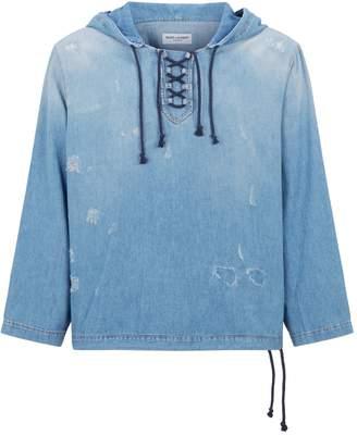 Saint Laurent Distressed Denim Hooded Shirt