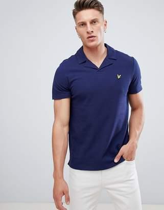 Lyle & Scott revere collar logo polo shirt in navy