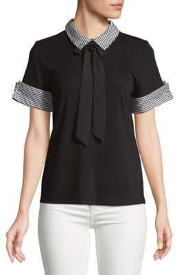 Faux Pearl-Embellished Collared Top