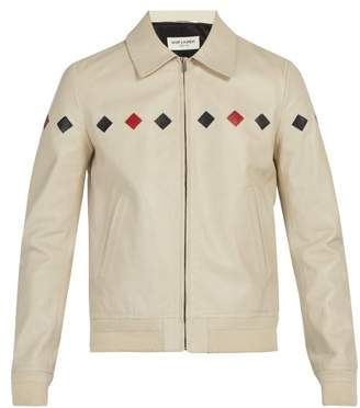 Saint Laurent Reverse Appliqued Leather Jacket - Mens - Cream Multi
