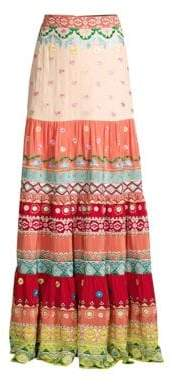 Saloni Isabel Floral Embroidered Stripe Silk Maxi Skirt