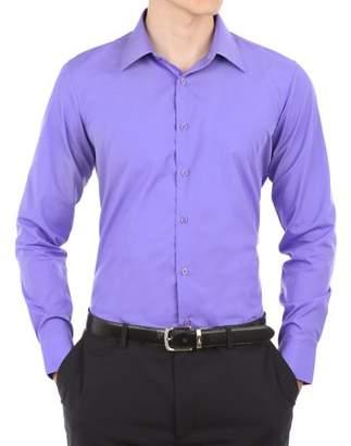 Verno Mens Royal Blue Slim Fit Long Sleeves Dress Shirt
