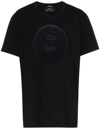 Balmain logo-flocked t-shirt