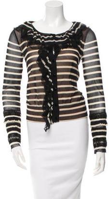 Jean Paul Gaultier Striped Ruffled Cardigan $175 thestylecure.com