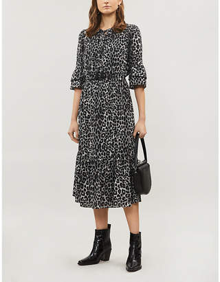MICHAEL Michael Kors Cheetah-print ruffle-trim crepe midi dress