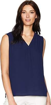 Anne Klein Women's Sleeveless V-Neck Pleated Blouse