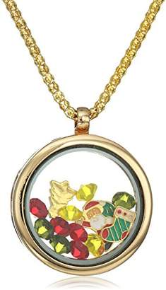 18k Gold Plated Alloy Round Pendant with X-Mas and Multi-Color Simulated Gemstones Charms Locket Necklace