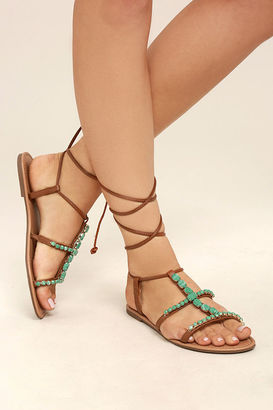 Madden Girl Kalipsoo Cognac Beaded Lace-Up Sandals $49 thestylecure.com