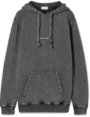 Saint Laurent Printed Cotton-jersey Hoodie - Dark gray