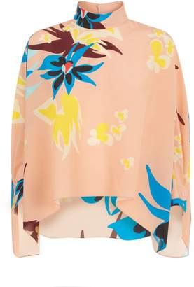 DELPOZO Floral Poncho Shirt