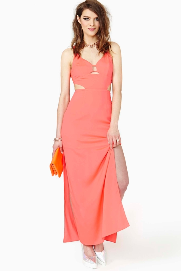 Nasty Gal Hot Fun Maxi Dress - Coral