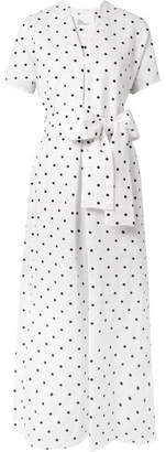 Lisa Marie Fernandez Rosetta Embroidered Polka-dot Linen Dress - White