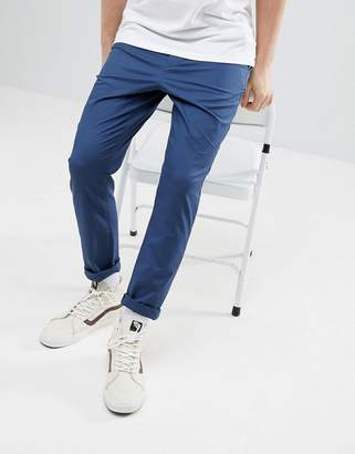 Asos Design DESIGN Tapered Chinos In Midnight Blue