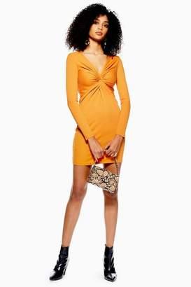 Topshop Womens Rib Knot Mini Bodycon Dress