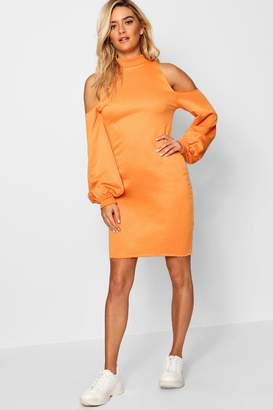 boohoo Cold Shoulder High Neck Sweatshirt Dress