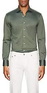 Cifonelli Men's Cotton Piqué Long-Sleeve Polo Shirt - Dk. Green