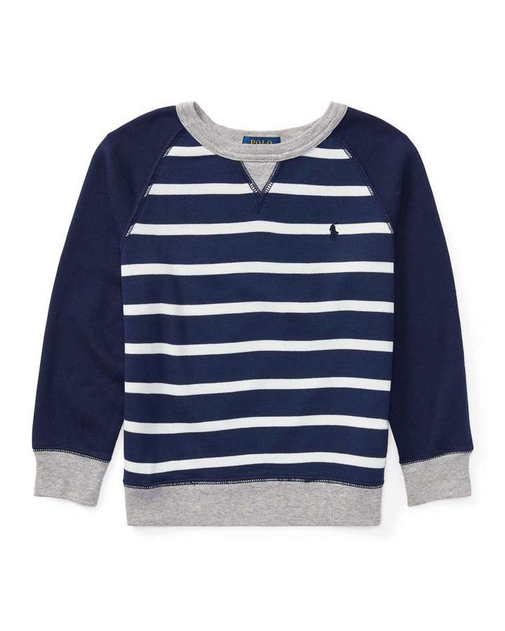 Spa Terry Stripe Knit Sweater, Blue, Size 5-7