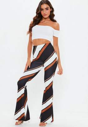 Missguided Tall Rust Stripe Flare Pants