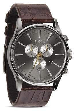 Nixon The Sentry Chrono Alligator-Embossed Leather Strap Watch, 42mm