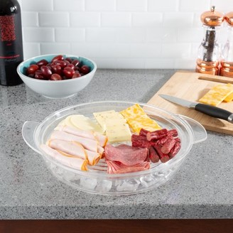 Cold Serving Tray-Veggie Platter with Ice Chamber, Lid and 3 Compartments-Chilled Divided Bowl for Fruit, Veggies, Cheese, and More by Classic Cuisine