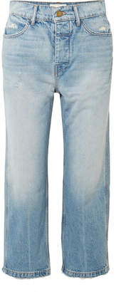 The Great The Railroad Cropped Distressed Boyfriend Jeans - Mid denim