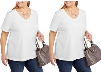 Faded Glory Women's Plus Size Short Sleeve V Neck Tee, 2 Pack Value Bundle