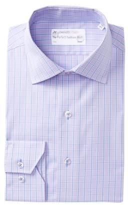 Lorenzo Uomo Textured Box Plaid Trim Fit Dress Shirt