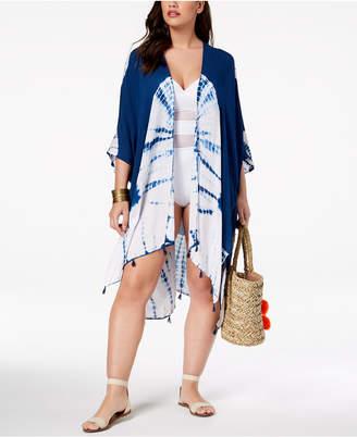 Raviya Plus Size Tie-Dyed Kimono Cover-Up