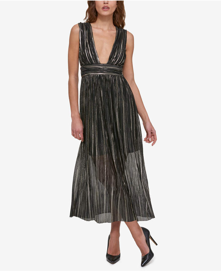 Guess Metallic Illusion V-Neck Dress