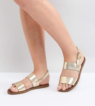 Dune Wide Fit Lowpez Leather Flat Sandal