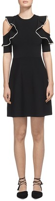 Whistles Frill Cold Shoulder Knit Dress $289 thestylecure.com