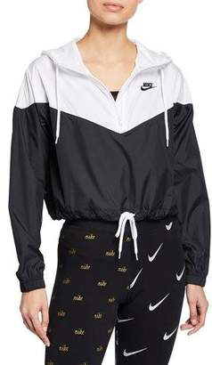 Nike Two-Tone Cropped Hooded Wind-Resistant Jacket