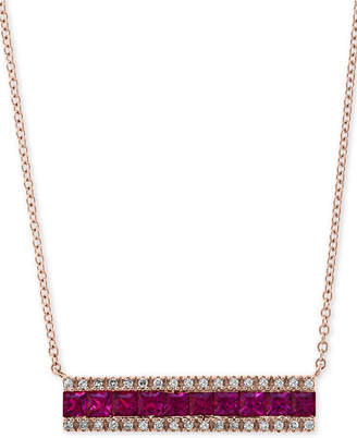 """Effy Ruby (1-1/4 ct. t.w.) & Diamond (1/8 ct. t.w.) Horizontal Bar 18"""" Pendant Necklace in 14k Rose Gold"""