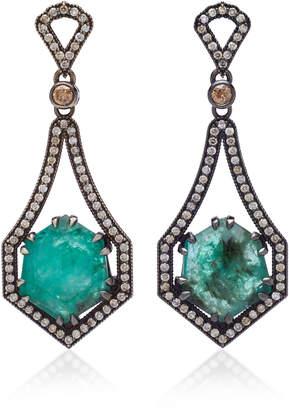 Sara Weinstock 18K Oxidized Gold, Emerald And Diamond Earrings