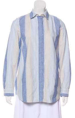 Lafayette 148 Striped Button-Up Top