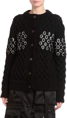 Prada Embellished Oversized Basketweave Knit Cardigan