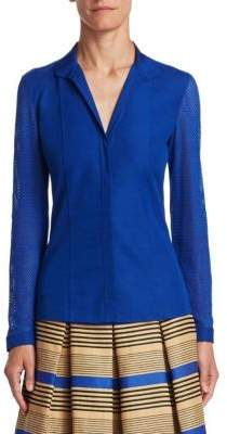 Akris Punto Mesh-Sleeve Blouse