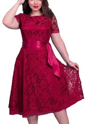 Faaaashion Women's Vintage Plus Size Floral Lace Dress with Belt Solid Color L-6XL