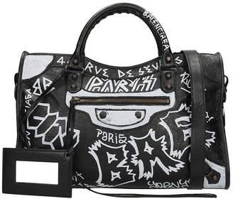 Balenciaga Graffiti Black City Bag