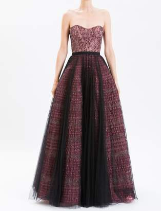 J. Mendel Violet Embroidered Lace Bustier Gown With Full Skirt