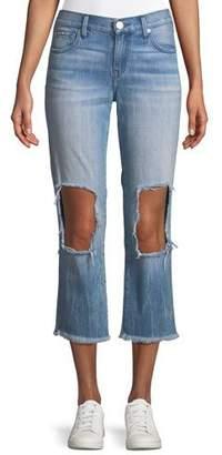 True Religion Starr Destroyed-Knee Zip-Cuff Jeans