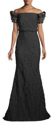 Badgley Mischka Stretch Jacquard Trumpet Gown with Beaded Sleeves