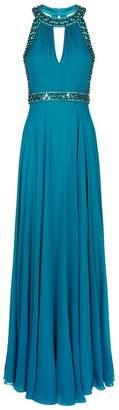 Jenny Packham Crystal Trim Chiffon Gown