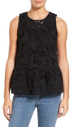 Women's Halogen Cotton Lace Ruffle Hem Tank $59 thestylecure.com