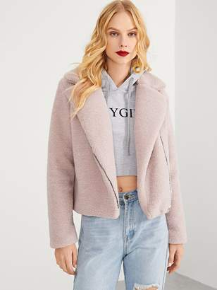 Shein Zip Front Notched Neck Solid Teddy Coat
