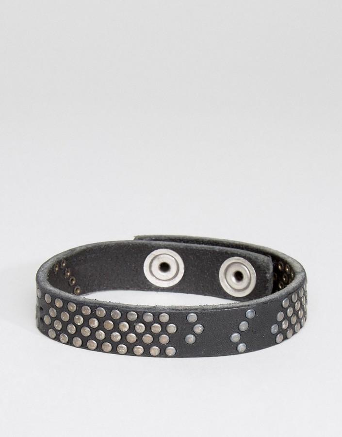 DieselDiesel A-Studdler Leather Bracelet In Black