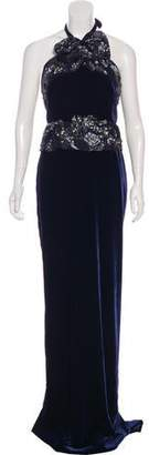 Marchesa Embellished Velvet Gown w/ Tags