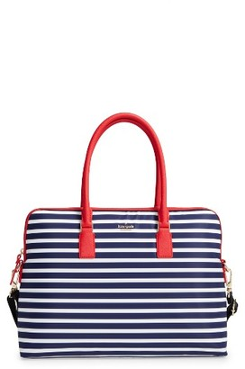 Kate Spade New York Stripe 15 Inch Nylon Laptop Satchel - Blue $248 thestylecure.com
