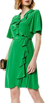 Karen Millen Silk Wrap Dress, Green