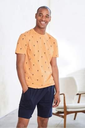 Next Mens Orange Palm Print Jersey Short Pyjama Set - Orange